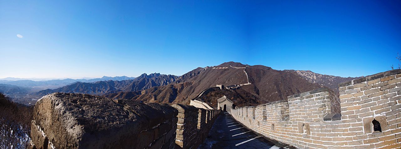 The Great Wall The Great Wall Of China Mountains Mountain Range View Landscape Panorama Nature Outdoors China Asian  Travel Traveling Heritage Culture History Architecture Monument Blue Sky Sunlight Perspective Chinese Beijing ASIA