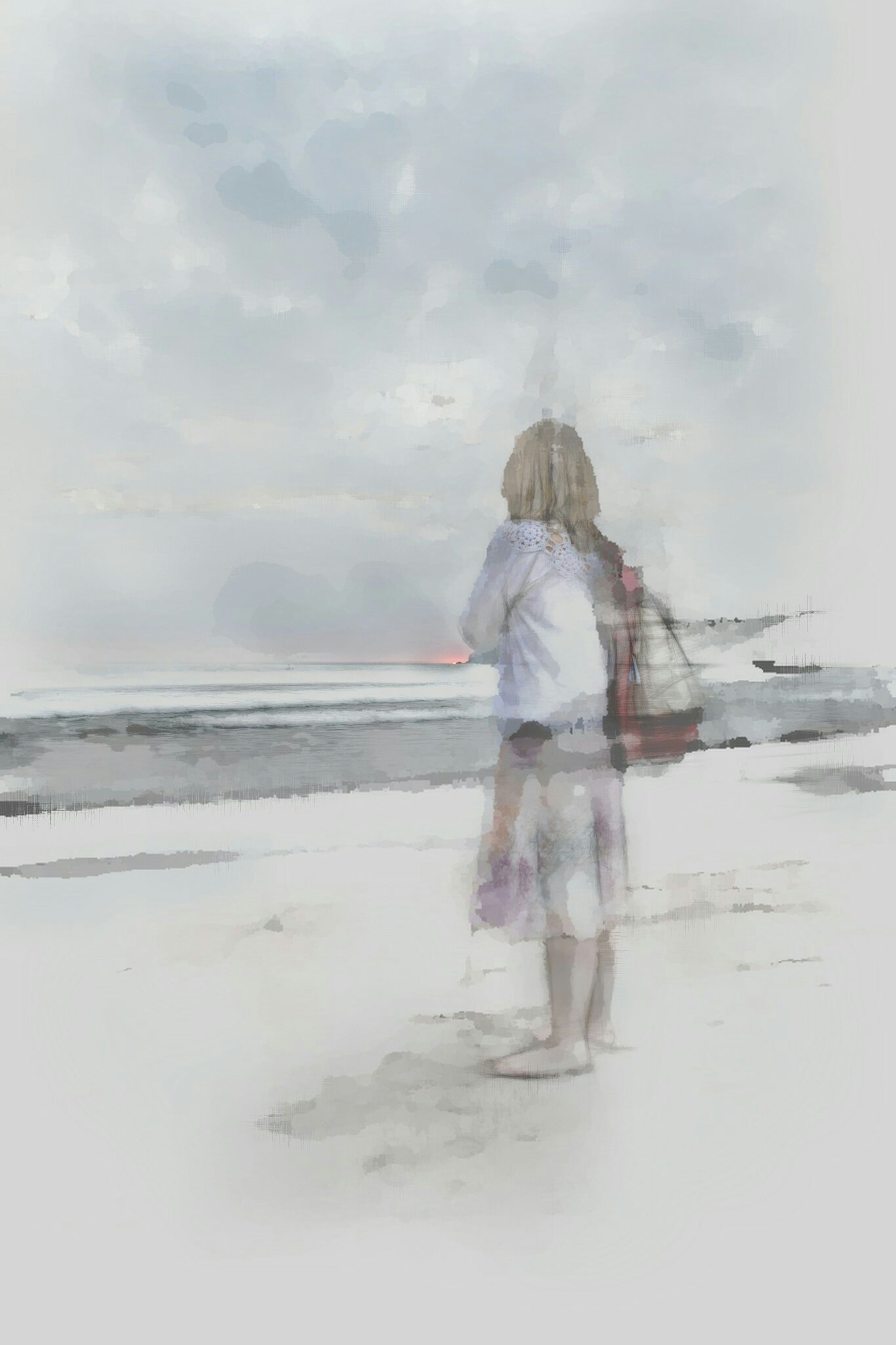 rear view, full length, lifestyles, water, sky, leisure activity, sea, casual clothing, standing, beach, cloud - sky, tranquility, tranquil scene, nature, childhood, horizon over water, day