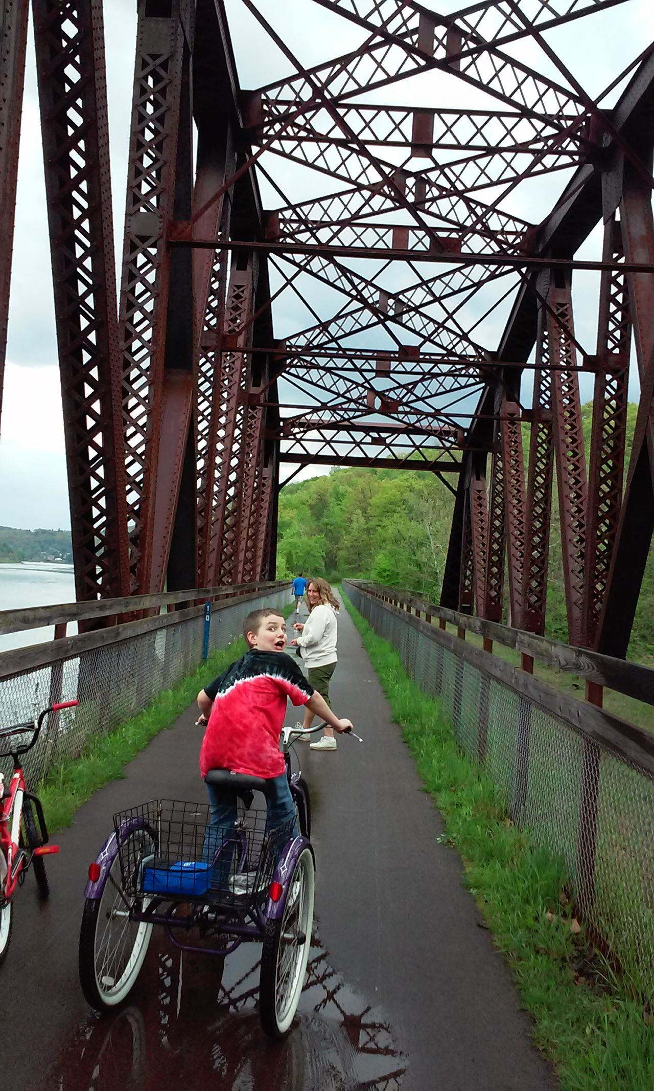 CyclingUnites PeopleOutdoors 2 People Family Built Structure Nature Bike Ride Bike Trail Bridge Family Time Family Fun Funny Face