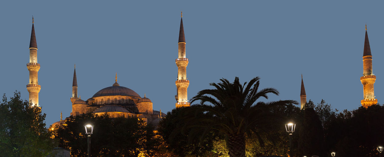 Blue Mosque in Istanbul, Turkey Architecture Art Beautiful Blue Mosque Builiding City Cultures Design, Beauty And Strenght All Rolled Up Dome Dusk Istanbul Landscape Night No People Old Outdoors Religion Sky Stone Tourism Tree Turkey