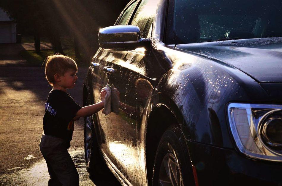 My Little Boy  Helping Out Washing A Car