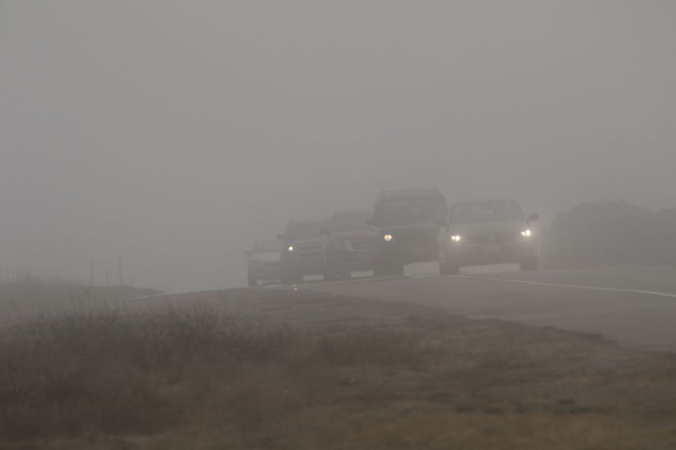Cars In Line Fog Invisible Nature No People Outdoors Road Traffic Transportation Visibility
