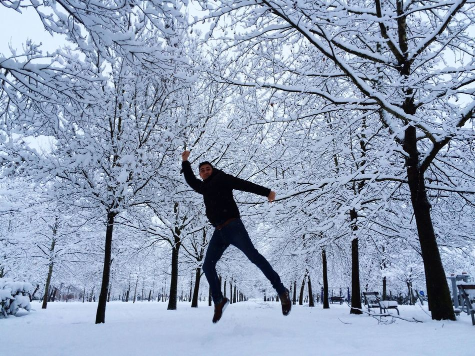 Winter Snow Cold Temperature Tree Full Length Weather One Person Real People Outdoors Nature Jumpshot Jump Jumping Winter Sport Snow ❄ White Background Energetic Play In Snow Park Urban Park Snow Trees Park Under Snow Fun Snow