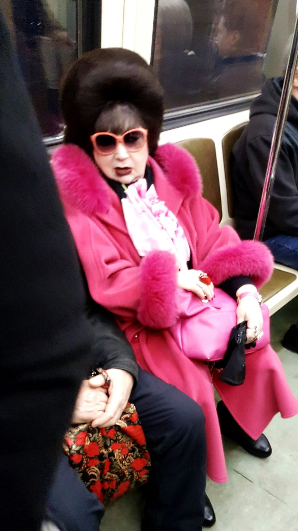 Sunglasses Pink Color Sitting People Russian Russian Woman Typical Carrige Train Station Russia Moscow Metro Station Metro Transportation Metro Moscow Subway Station Travel Destinations Tube Station