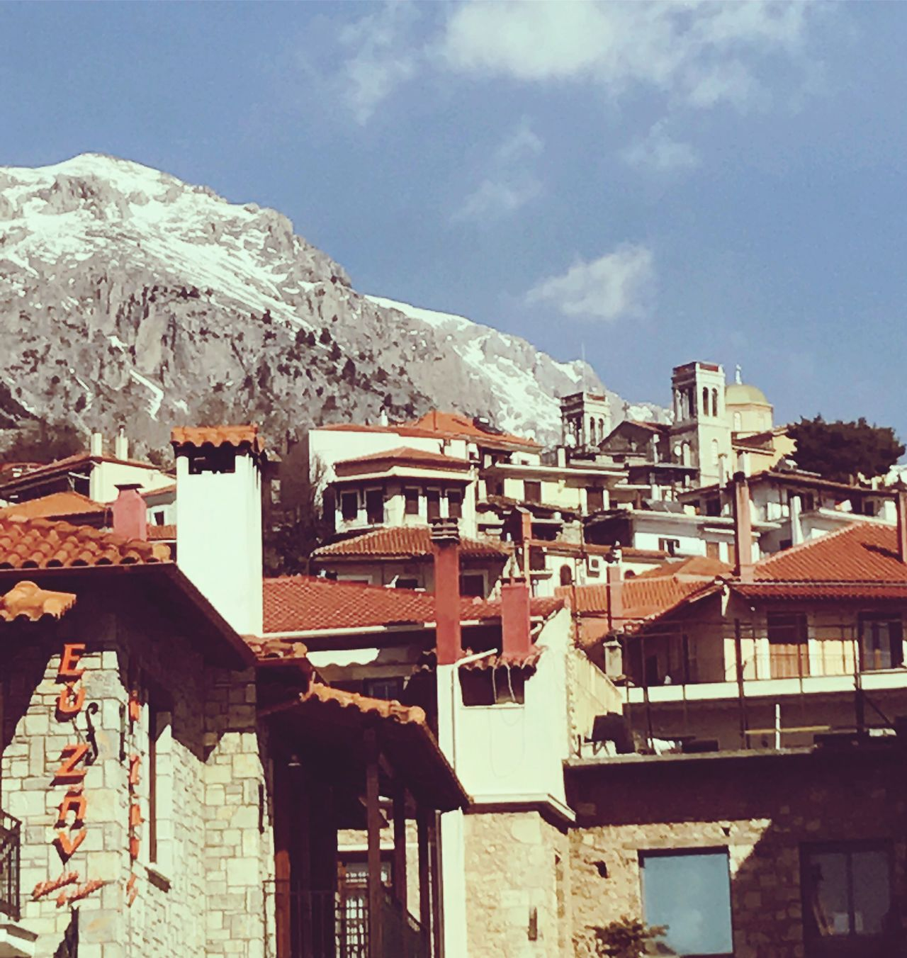 Arachova Town in Greece Greece Arachova Tourism Mountain Mountain View Snow Houses Architecture Building Exterior Roof Outdoors Cityscape Nature EyeEm Best Shots No People Sky Stonewalls Hellas