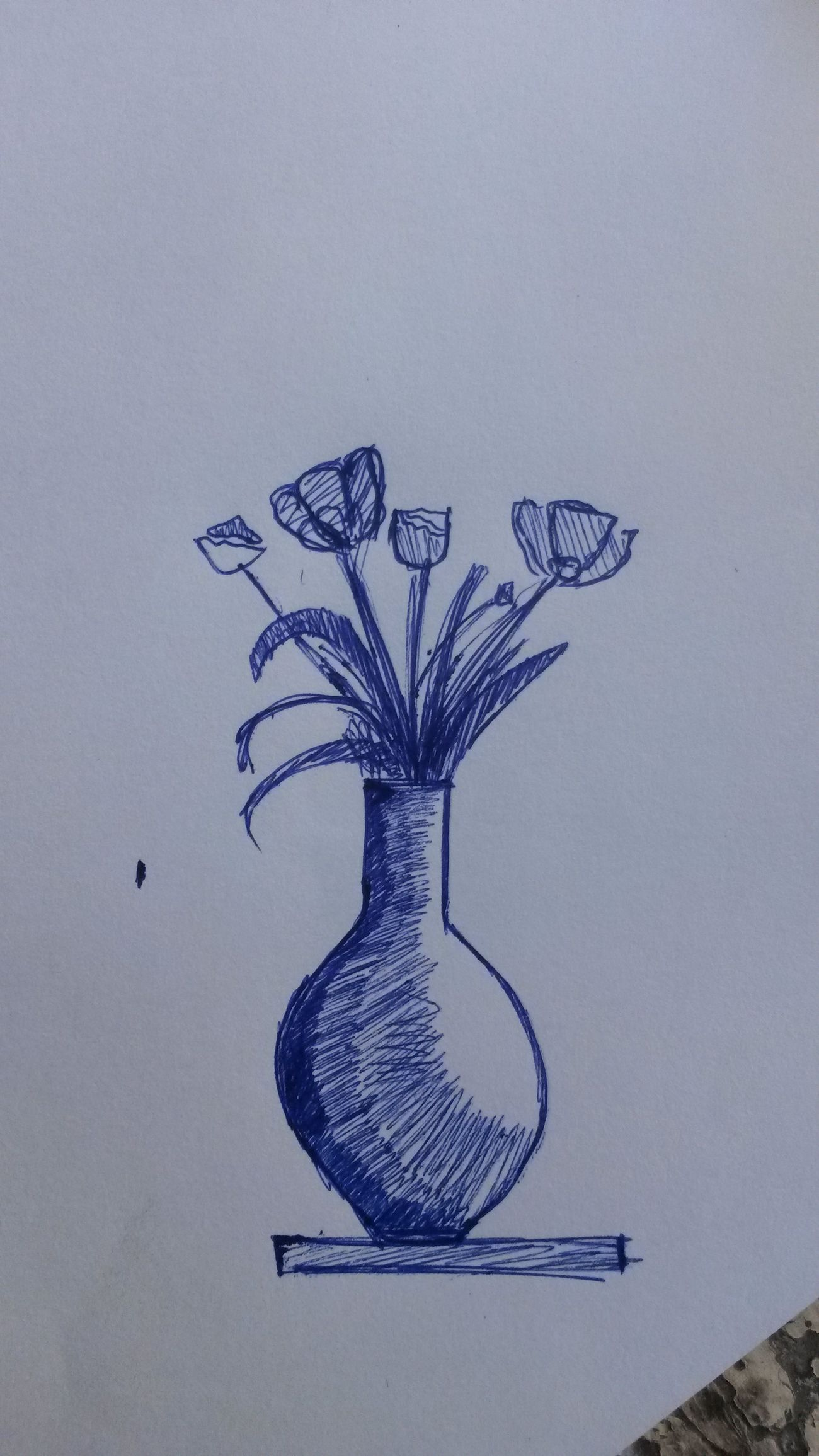 Sketch Paper Ink Plant Flower Indoors  Nature No People Painted Image Close-up Day Pen Sketching Flower Vase All Blue Fragility Freshness ♥♥♥