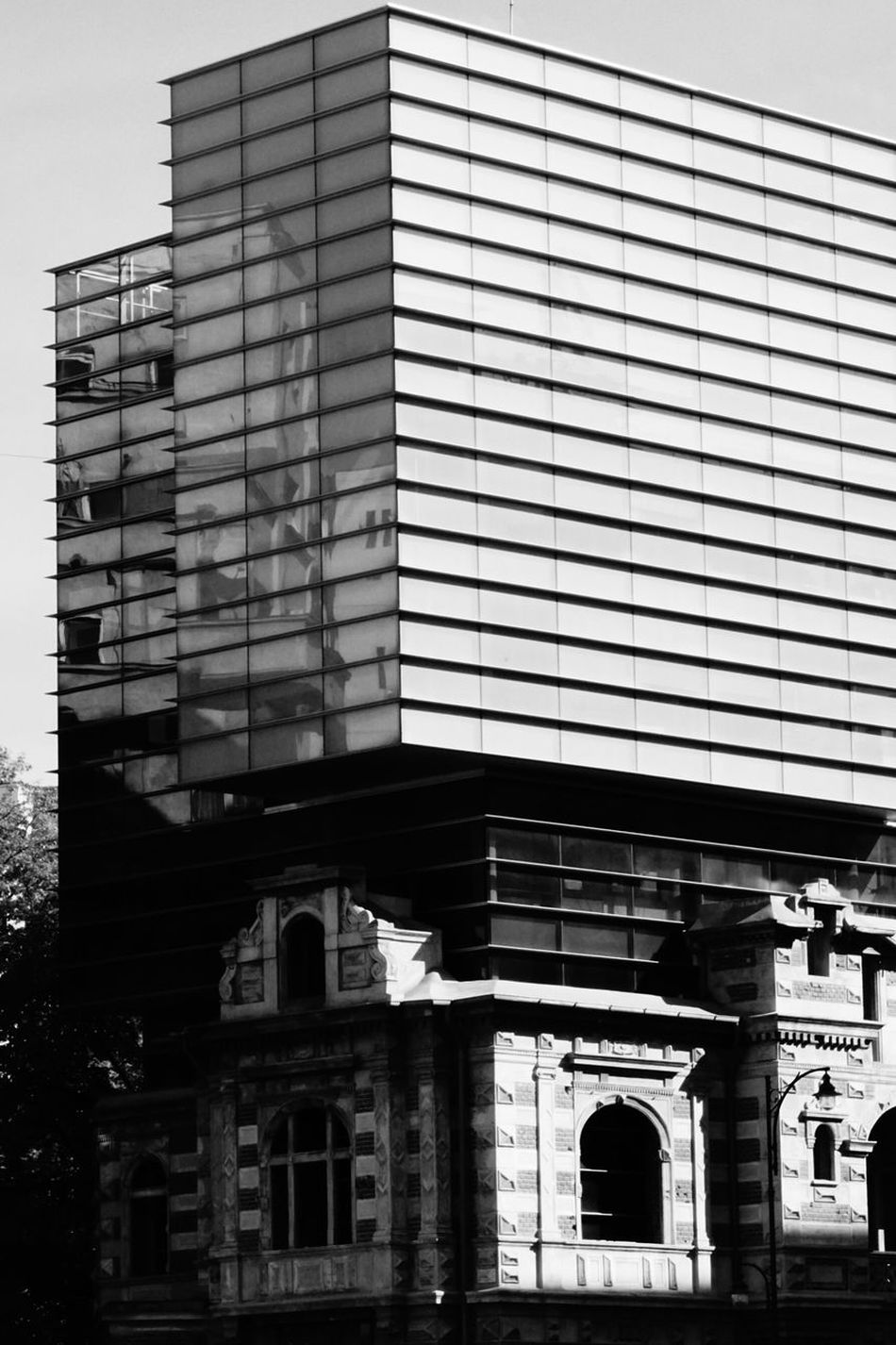 Bucharest Streetphotography Blackandwhite Photography Old And New Buildings New On Top Of Old Building Exterior Day Outdoors Façade No People Lines And Shapes Reflection In The Window Sony A6000 No Photoshop Bucharest, Romania
