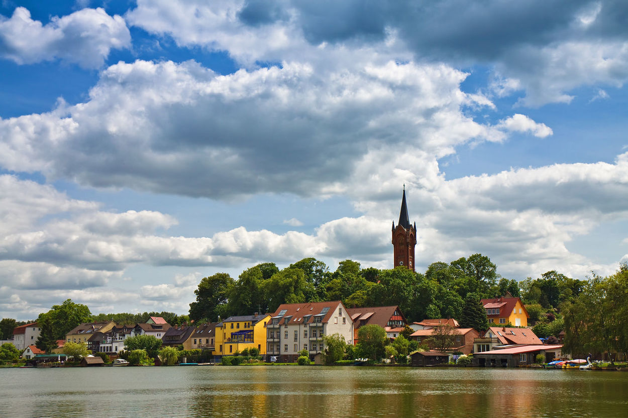 View to Feldberg, Germany. Architecture Building Exterior Church City Cityscape Cloud - Sky Day Feldberg Horizontal Lake No People Outdoors Sky Tower Town Travel Destinations Tree Urban Skyline Water