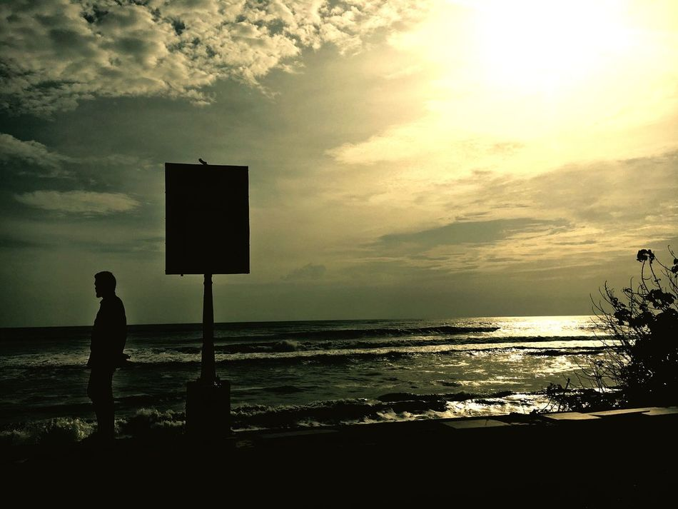 Sea Silhouette Horizon Over Water One Person Sky Standing Cloud - Sky Sunset Nature Men Beauty In Nature Scenics Outdoors Real People One Man Only Day People Adult EyeEmNewHere