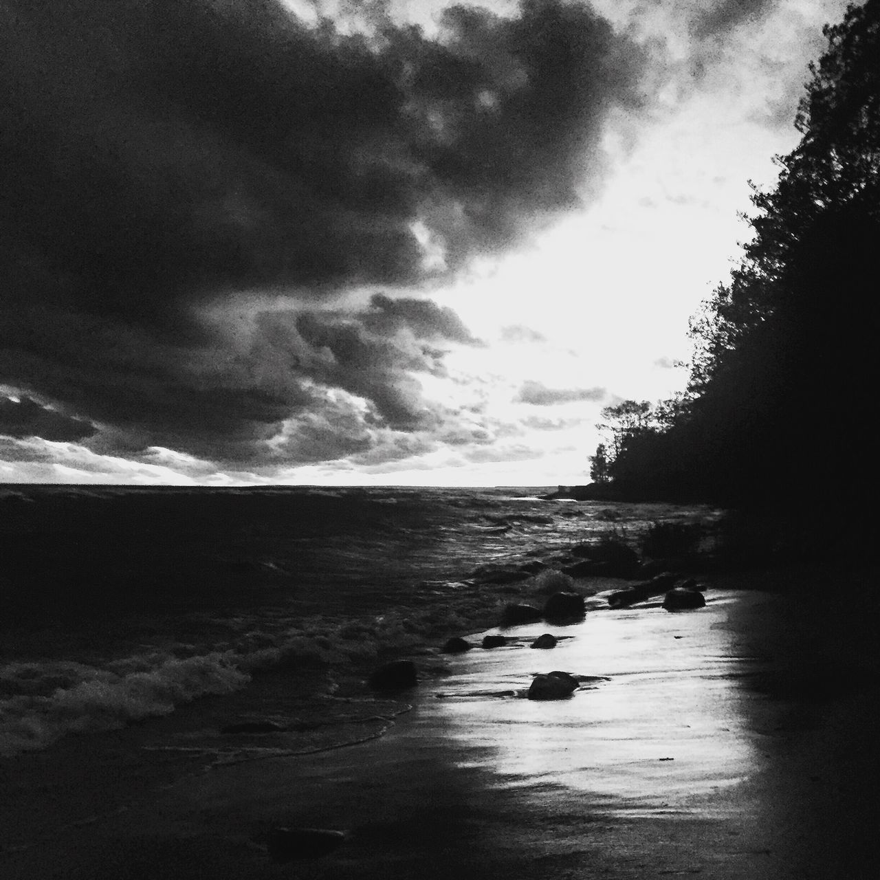 Baltic Sea Water Sea Tranquility Tranquil Scene Horizon Over Water Sky Scenics Beach Calm Cloud Cloud - Sky Nature Beauty In Nature Shore Coastline Cloudy Outdoors Remote Solitude Day Blackandwhite Photography Black & White Monochrome Monochromatic