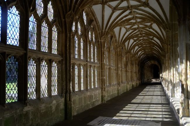 Wells Cathedral Cloister. England Arch Arched Architecture Built Structure Cathedral Ceiling Church Cloister Colonnade Column Corridor Day Daylight Flooring Historic Building History In A Row Indoors  Long Narrow Pillar Place Of Worship The Way Forward Wells Window