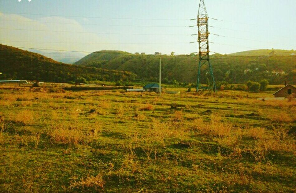Almaty, Kazakhstan Landscape Electricity Pylon Sky Nature Telephone Line Tranquility Power Line  Cable Electricity  No People Power Supply Day Telephone Pole Outdoors Tree Field Grass