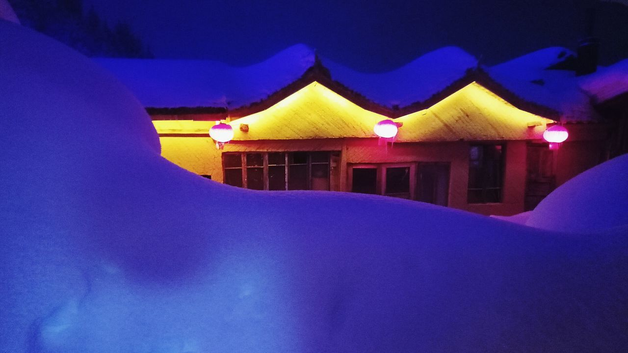 night, illuminated, no people, cold temperature, snow, blue, winter, outdoors, architecture, nature, close-up