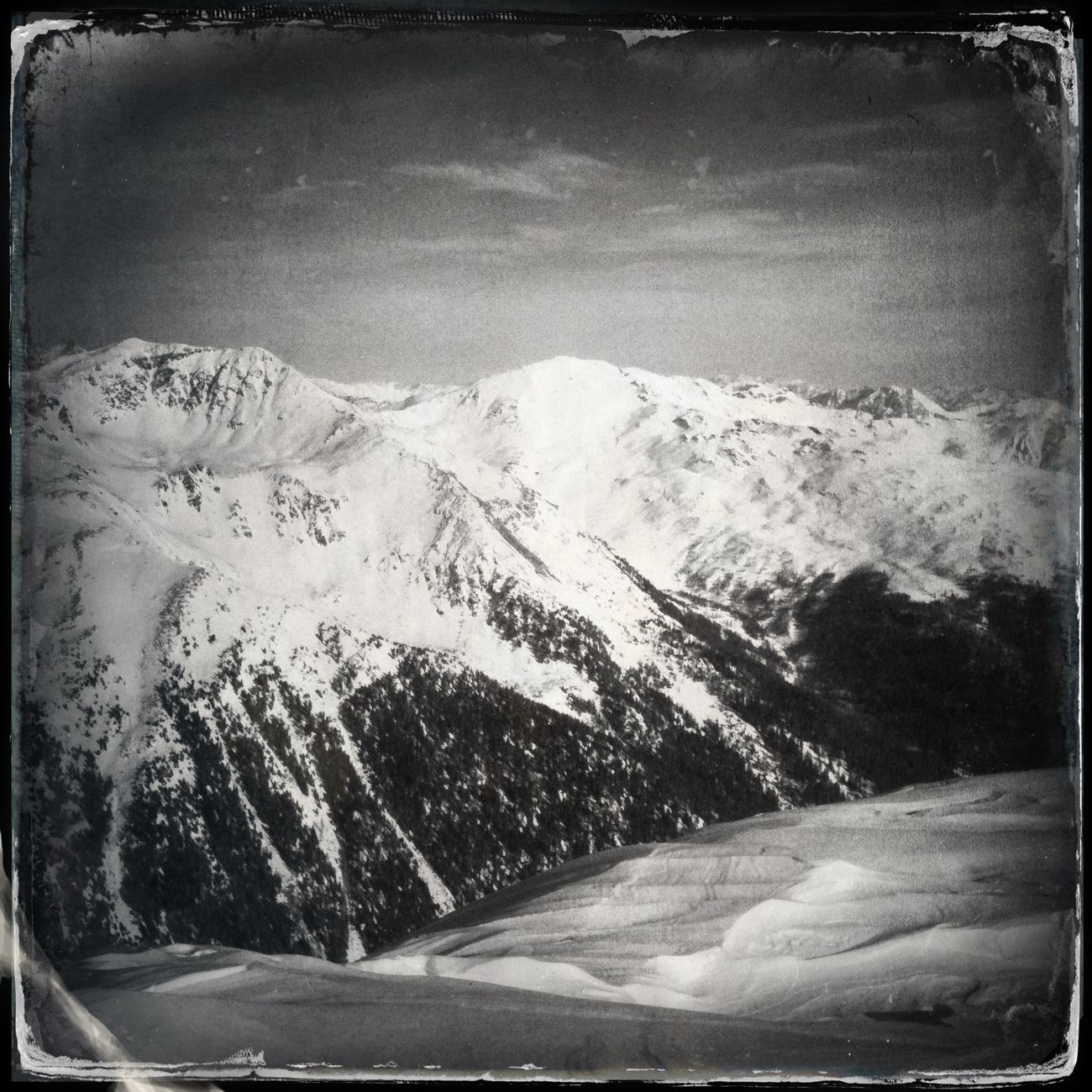 The view to Mt. Hoher Dieb - Gran Ladro Ultental The_guido Hipstamatic Blackandwhite
