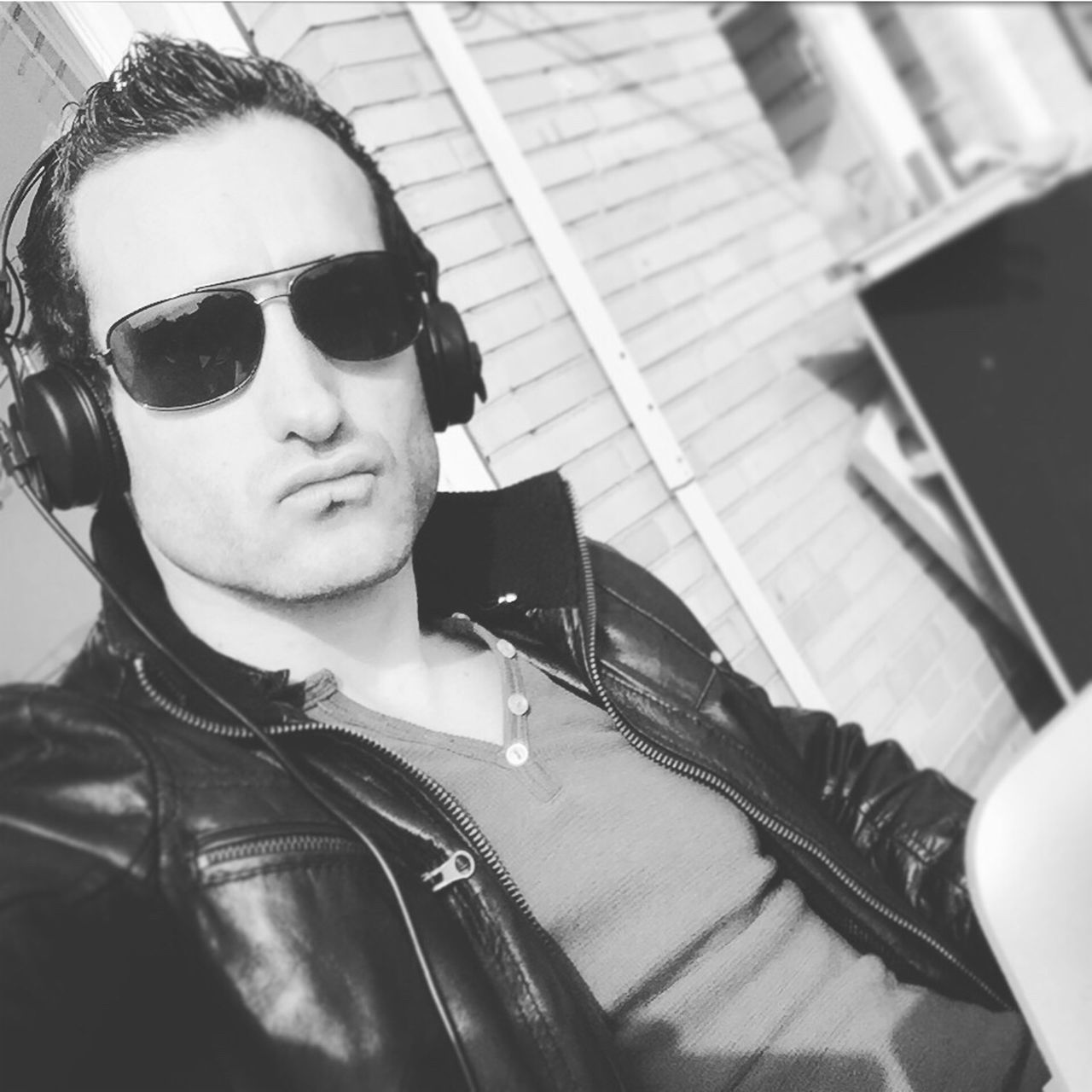 Sunglasses Music Real People Lifestyles Duckface Cool Leather Jacket Black & White First Eyeem Photo