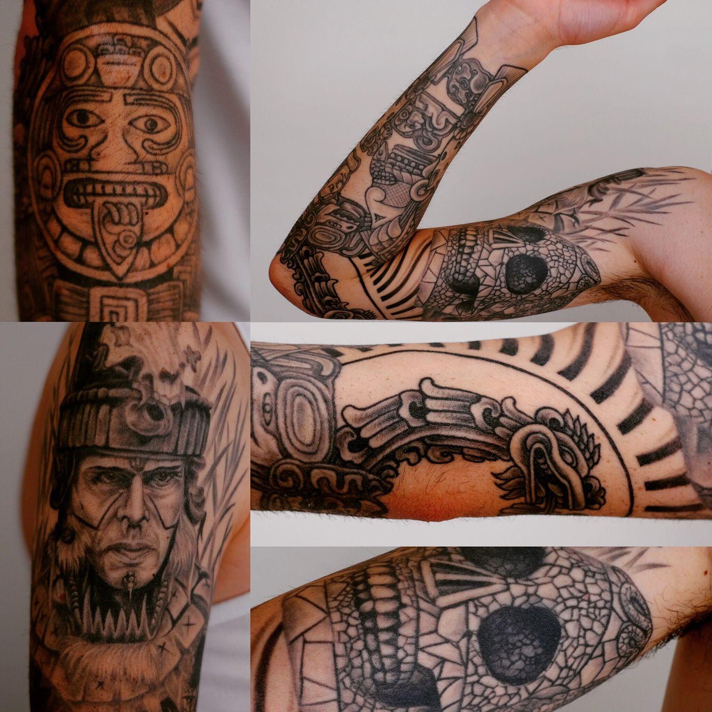 Aztec maya sleeve by Eun-Sen Eun-sen Sin One More Tattoo Onemoretattoo Tattoo Luxembourg Besttattoo Luxembourgtattoo Black And White Aztec Mexico