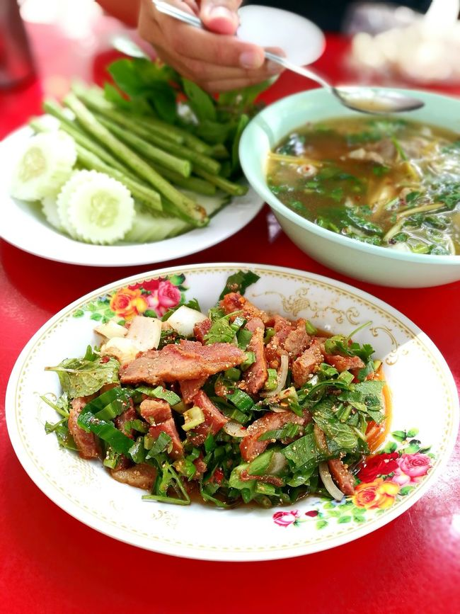 Hot and spicy grilled pork salad. Nam Tok Moo. Thai food. Spicy Thai Food Thai Food แซ่บอีหลี Thailand Photos Thai Food Hot And Spicy Thai Style Grilled Pork Pork Street Photography Streetfood Street Foods Street Food Worlwide Street Foods Photography