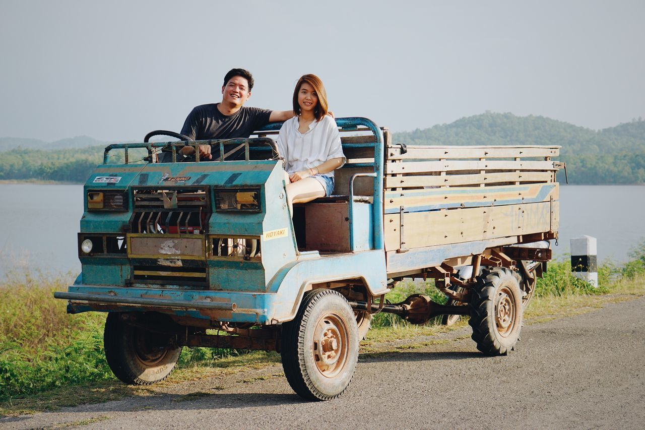 Transportation Mode Of Transport Women Young Adult Young Women Togetherness Travel Two People Day Land Vehicle Adult Young Men Leisure Activity Real People Smiling Men Lifestyles Vacations Off-road Vehicle Outdoors
