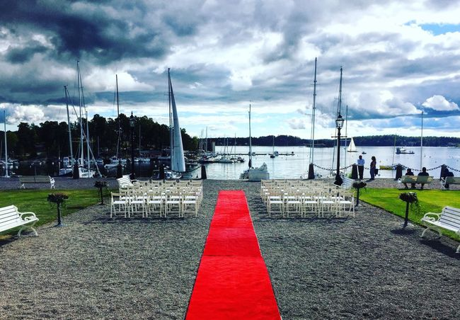 Sweden Cloud Pathway Sky Sailboat Walkway Day Water Tranquility Group Of Objects In A Row Red Tranquil Scene Cloud - Sky Long Harbor Outdoors Nature Marina Solitude The Way Forward Red Carpet