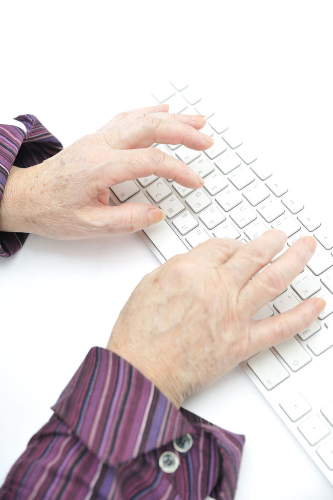 70s 80s Active Adult Age Business Chat Closeup Communication Computer Desktop Device Elderly Equipment Grandma Hands Hardware House Iliteracy Keyboard Laptop Maturity Old Personal Retirement