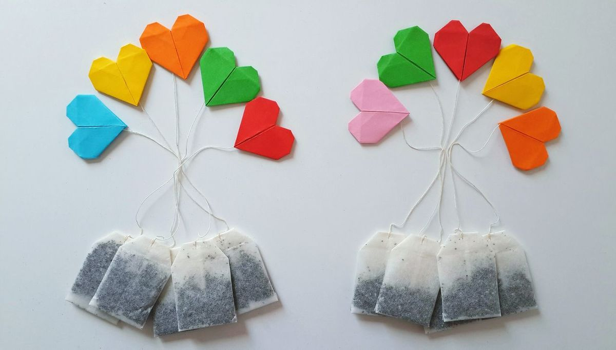 Tea Teabags White Background Getting Inspired Paper View Multi Colored Heart Shape Paper Origami Tea Bags Design Directly Above Pattern Pieces Simplicity Arrangement Cute Colors Ideas Eye4photography  EyeEm Best Edits Getting Creative Pattern Colours Colorful Still Life