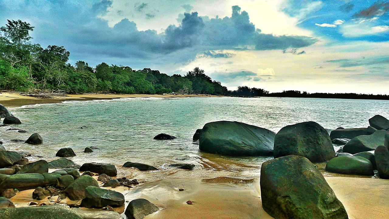 Sandy Beach With Big Stones Calming Place Seeview Clouds And Sky Green Trees On The Beach Kao LakhThailand Showcase April The KIOMI Collection Feel The Journey
