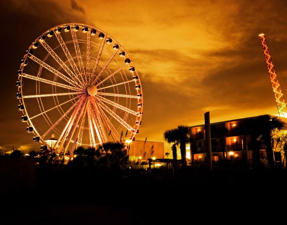 Skywheel Sun Sunset Colors Sky Cloud Canon Outdoors Dramatic Sky Sky And Clouds Myrtle Beach SC Scenics Orange Color Sunset Over Myrtle Cloud - Sky Skyporn Nightphotography Night Photography Canon5Dmk3 Long Exposure Longexposurephotography Slow Shutter Canonphotography Ferris Wheel Architecture