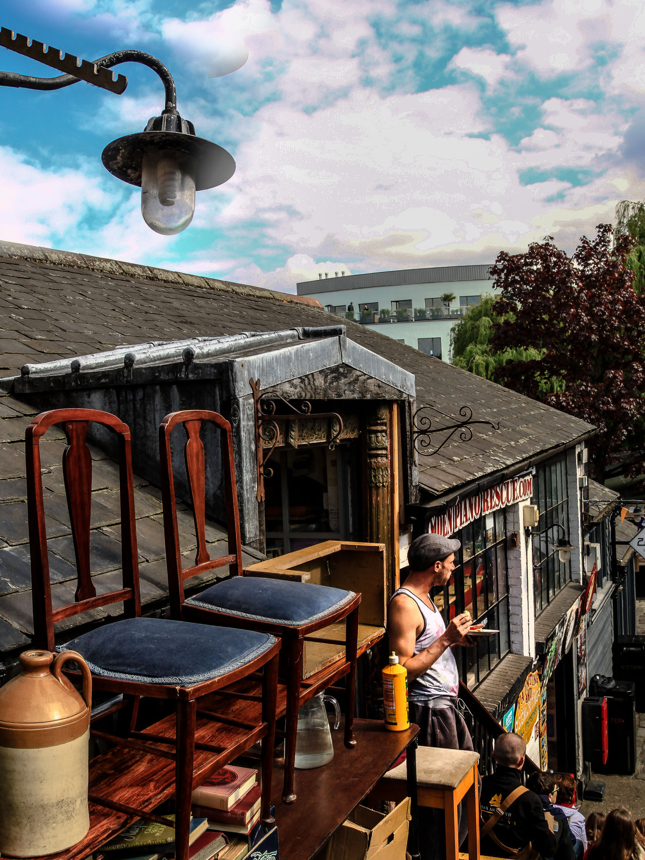 Candem Town Candemlock Chairs Day Furnishing Furniture Restoration Lamp Lunch Time! Man Outdoors Roof Sky Street Lunch Streetphotography The Street Photographer - 2017 EyeEm Awards Tshirt BYOPaper! Live For The Story Place Of Heart