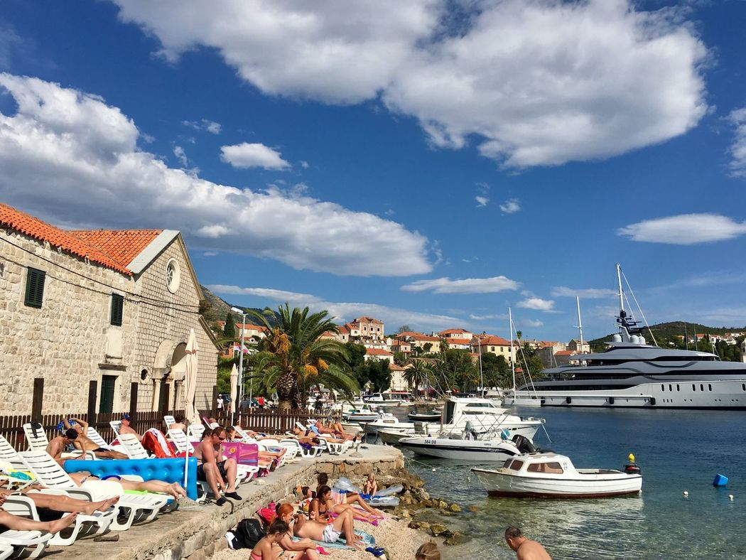 People enjoying sun and beach in Croatia Water Sky Building Exterior Cloud - Sky Nautical Vessel Built Structure Vacations Transportation Mode Of Transport Outdoors Swimming Pool Day Architecture Large Group Of People Real People Tree Nature Beauty In Nature Miles Away Neighborhood Map The Street Photographer - 2017 EyeEm Awards Sommergefühle Your Ticket To Europe