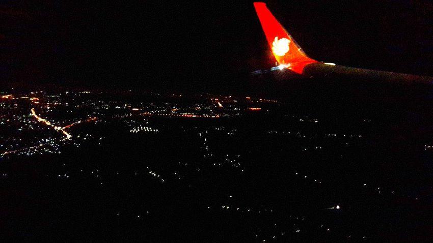 From An Airplane Window Nightshot LionAir Makassarcity