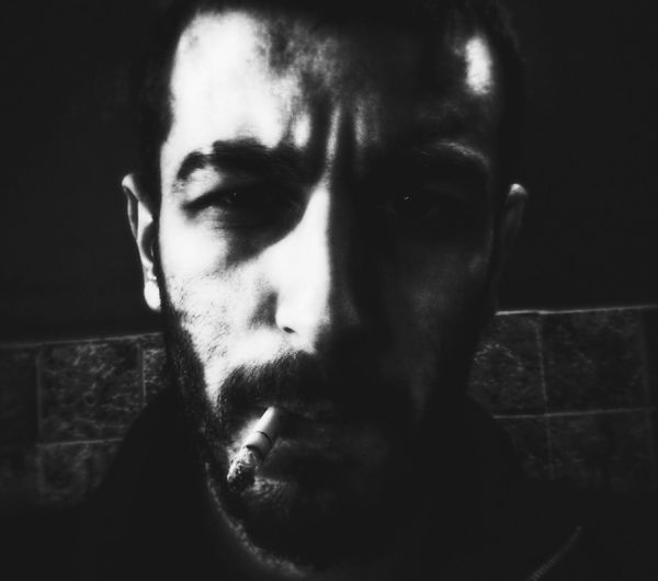 Rise above the darkness. Black And White Darkness Self Portrait