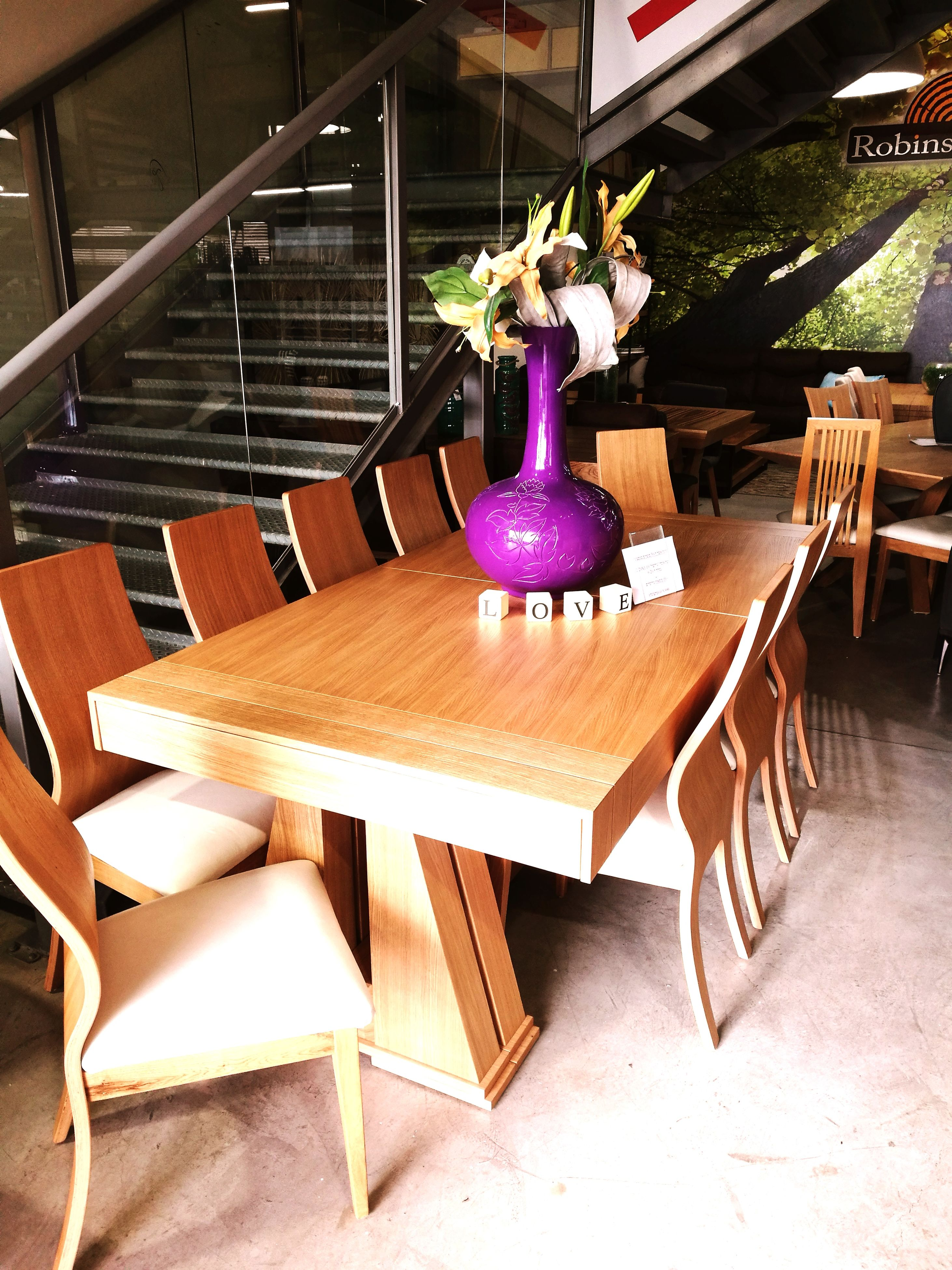 table, chair, wood - material, flower, indoors, vase, no people, furniture, day, seat, close-up