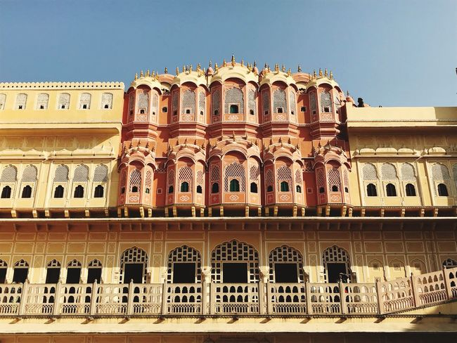 Hawa Mahal Beautiful India Rajasthan Window Intricate Architecture Building Exterior Built Structure Arch Clear Sky Low Angle View Outdoors Palace Travel Destinations Architectural Column History Day No People Sky City Colour Your Horizn