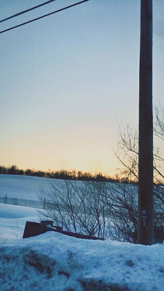 Had to stop the car to take this great picture Nature Sunset Snow Telephone Pole First Eyeem Photo