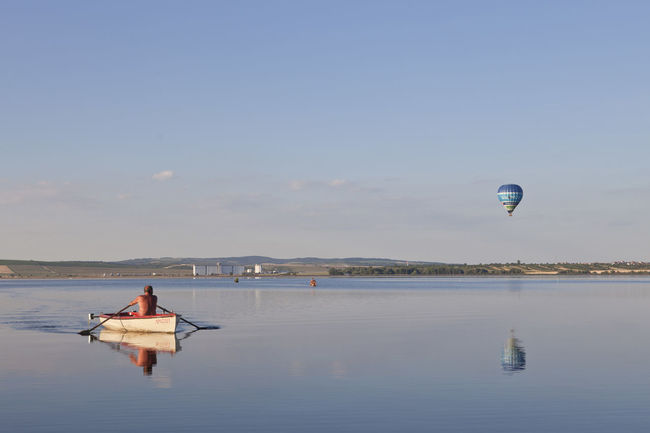 Balloon Blue Blue Album Boat Calm Idyllic Nature Outdoors Sky The Essence Of Summer Tranquil Scene Tranquility Vacations Water Original Experiences Colour Of Life