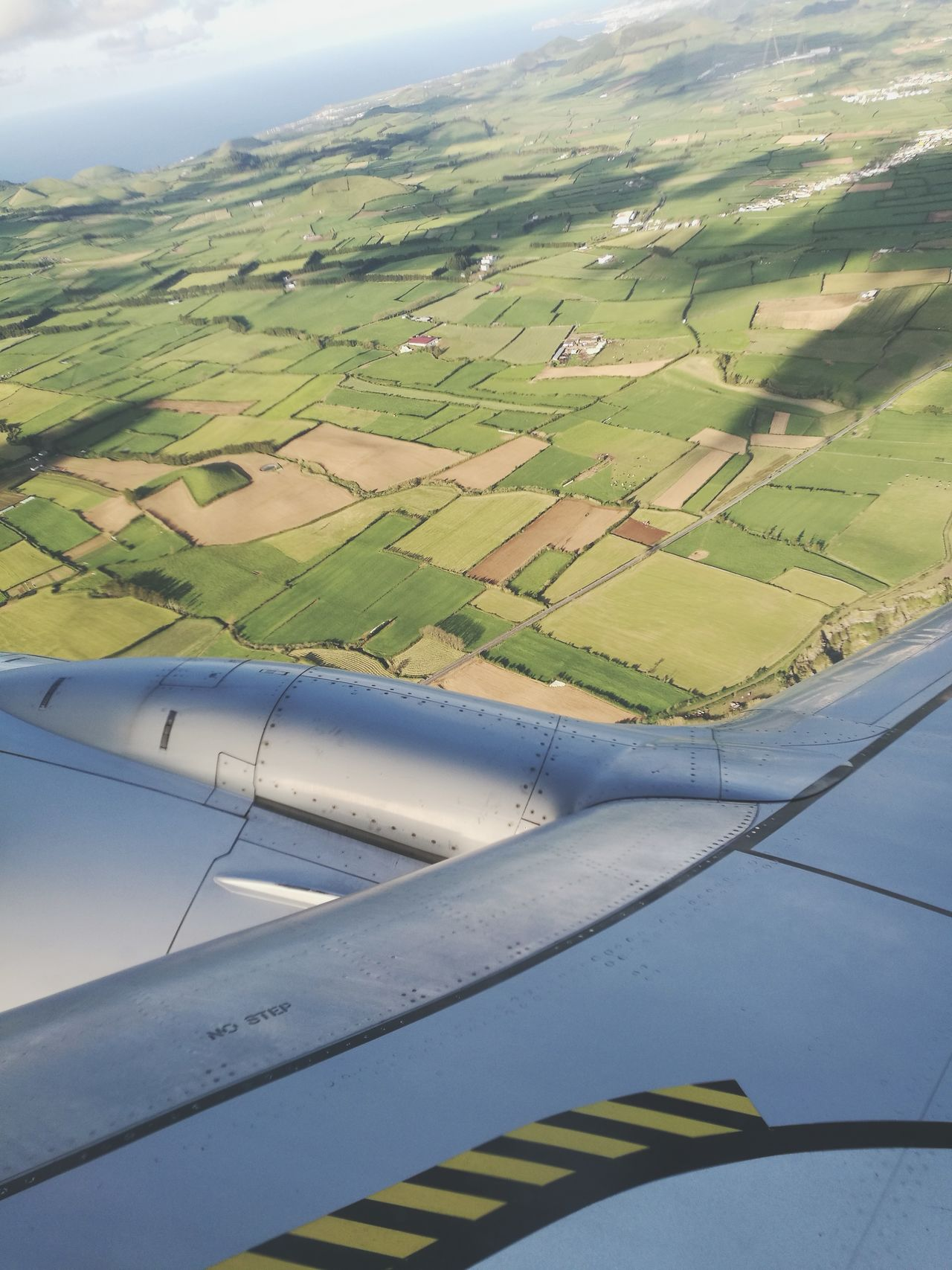 Aerial View Agriculture Landscape Rural Scene Farm Scenics Nature Outdoors Tranquil Scene Field Patchwork Landscape Beauty In Nature Flying Airplane Aerial Shot Plane Window Azores