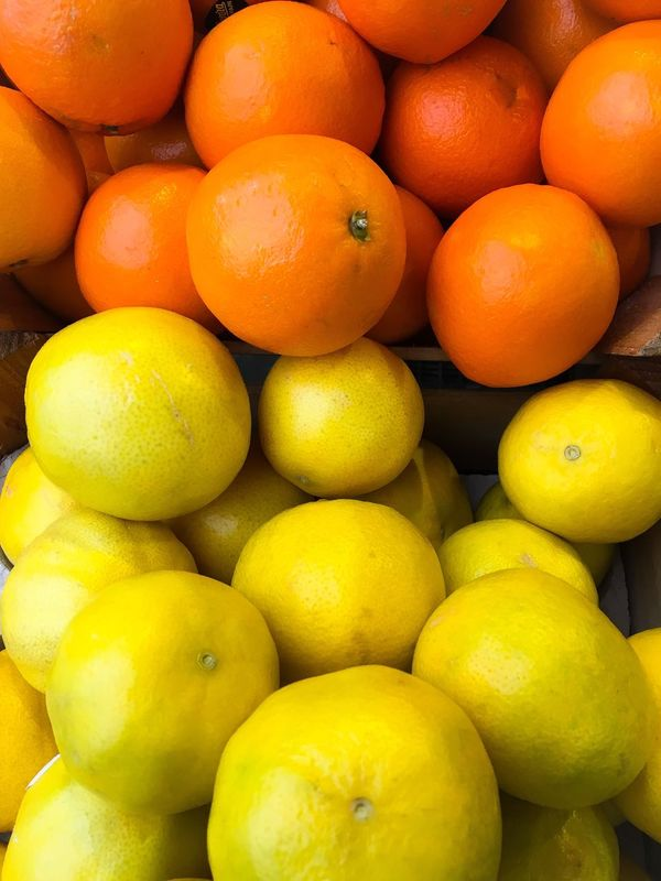Bright fruit Freshness Fruit Food Healthy Eating Full Frame Citrus Fruit Backgrounds Food And Drink No People Yellow Large Group Of Objects Day Outdoors Oranges Market Stall Display Vitamins Orange Orange Color Many Pile Of Fruit