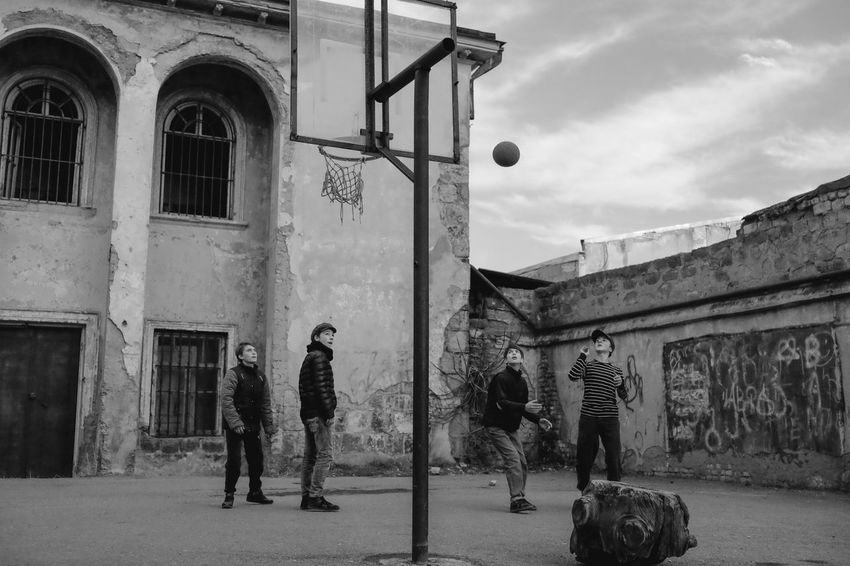 Architecture Adult Sky Day Outdoors Street Photography Monochrome Black And White Check This Out Blackandwhite Full Frame Lifestyles Urban Portrait Streetportrait Urban Life Photo Photography Streetphotography Fujifilm Tbilisi Playing Basketball Children Black & White Friday