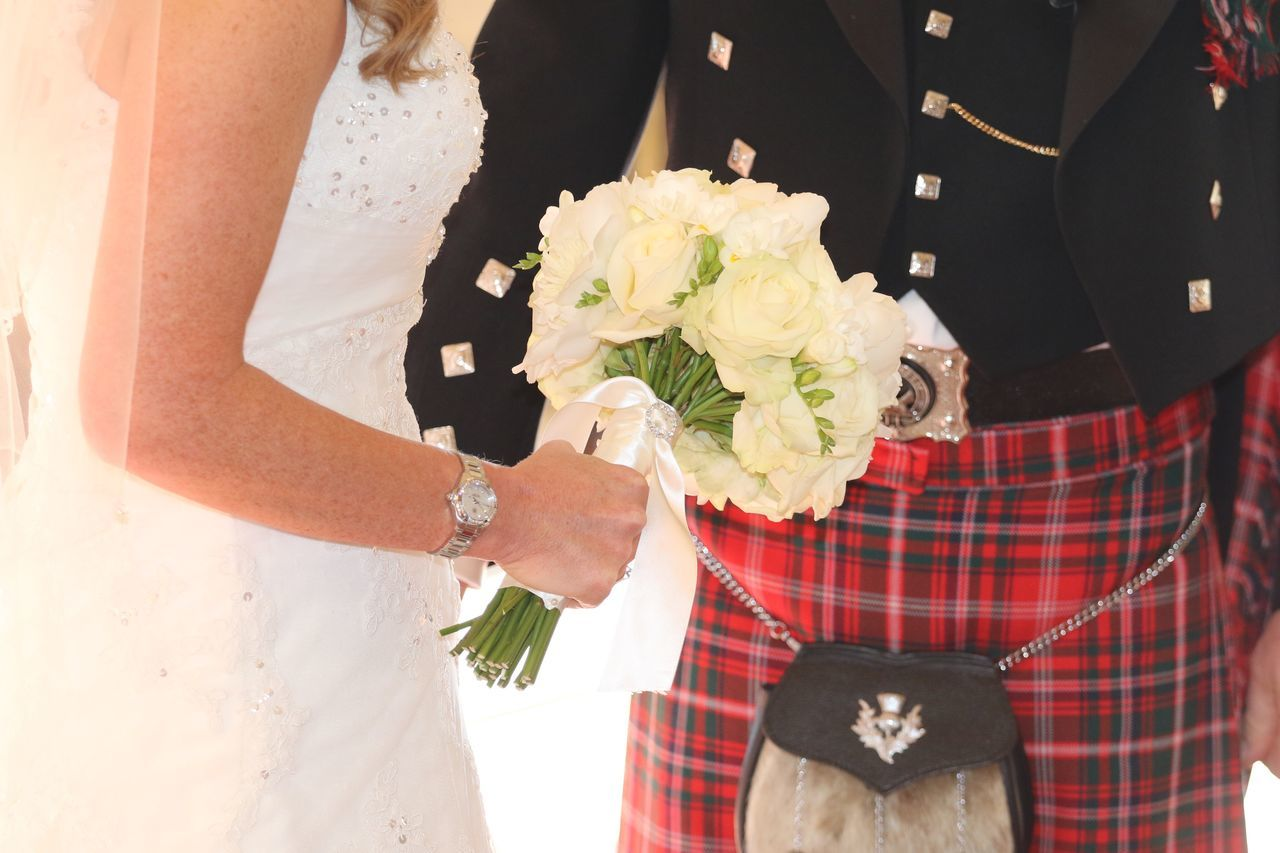 Wedding Bride Life Events Wedding Dress Celebration Bridegroom Wedding Ceremony Midsection Ceremony Celebration Event Holding Men Love Two People Women Well-dressed Religion Adults Only Bouquet Groom Scotland Tartan