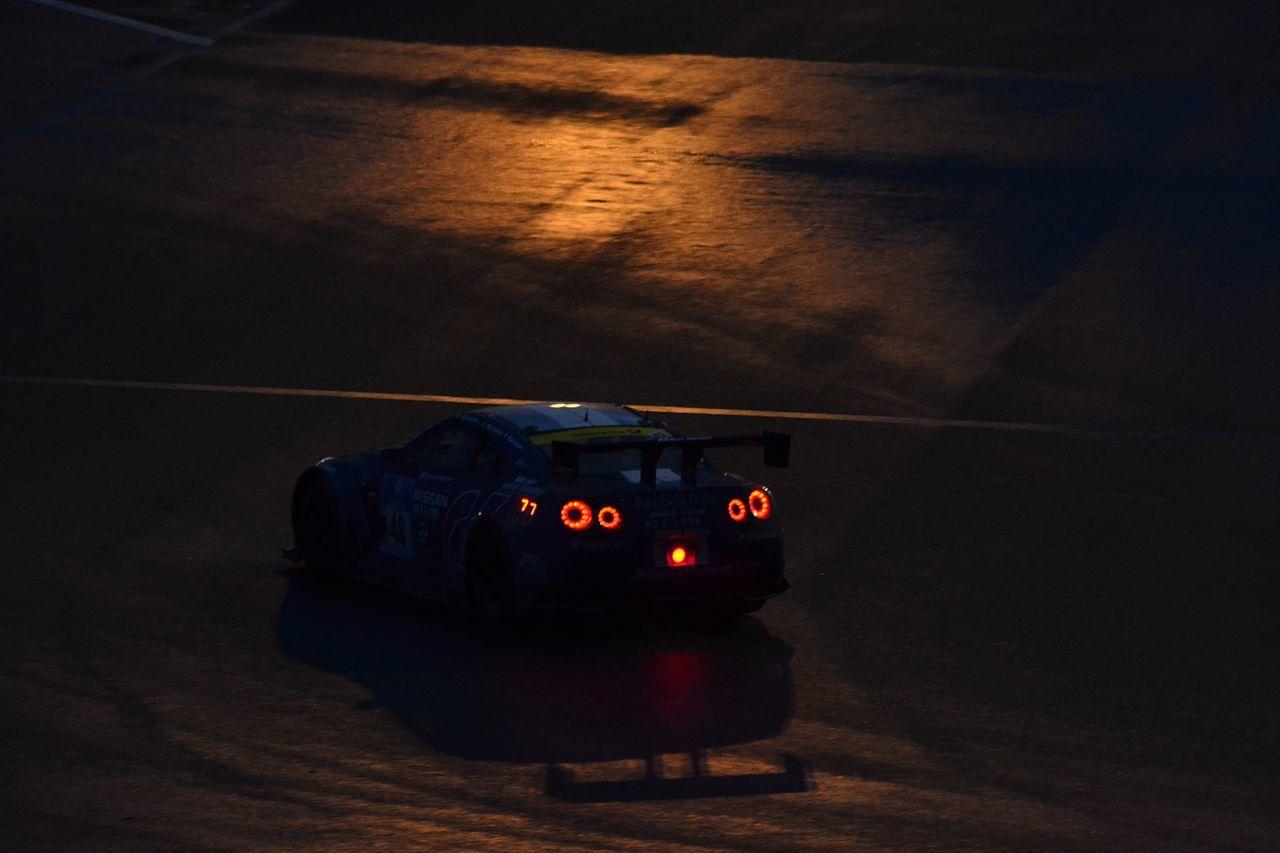 Car Lights And Shadows Lights In The Dark Night Nissan GTR Nurburgring