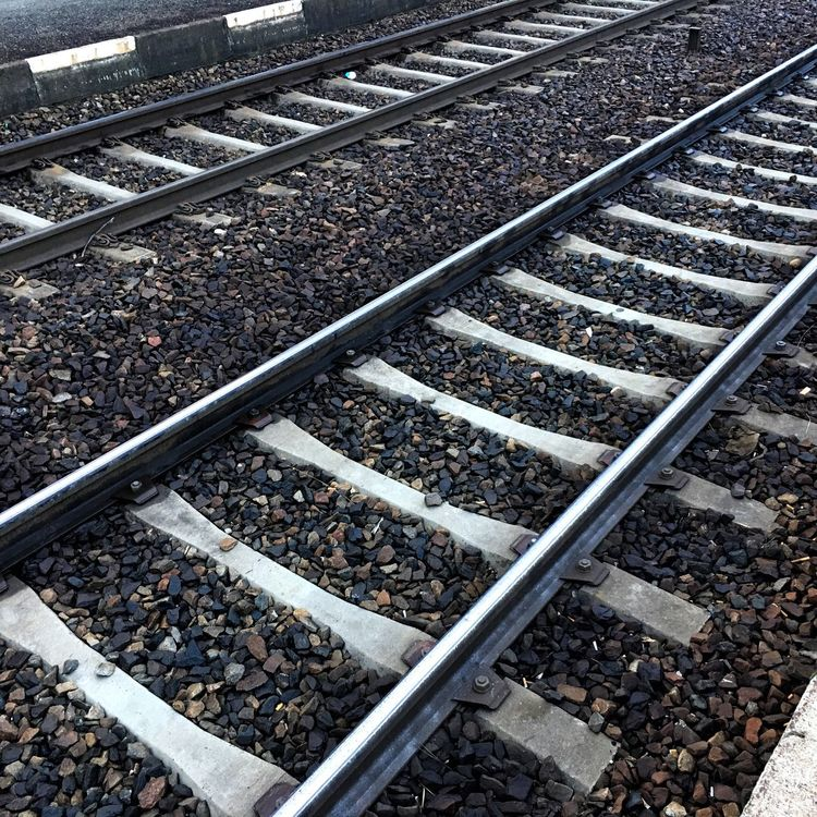 Railroad Track Railroad Tie Transportation Gravel Rail Transportation High Angle View Stone - Object Outdoors Rock - Object Day No People