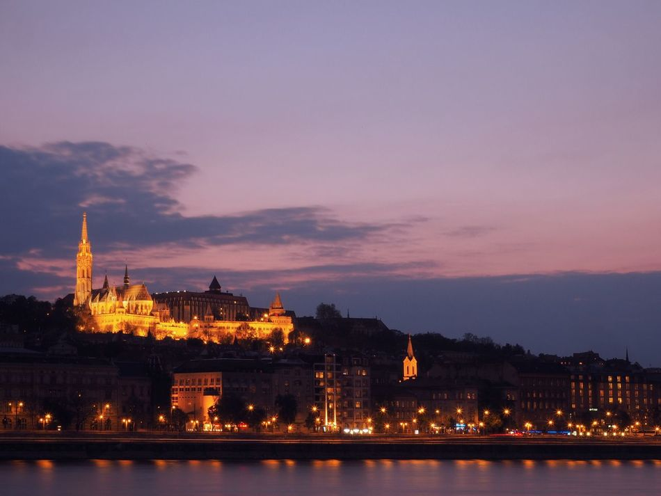 Place Of Heart The Architect - 2017 EyeEm Awards Architecture Built Structure Building Exterior Illuminated Sunset Dusk Sky Night Water Religion Cloud - Sky Buda Castle Place Of Worship City Church Matyas Church Mathias Church Castle Hill Buda River Riverside Danube Evening