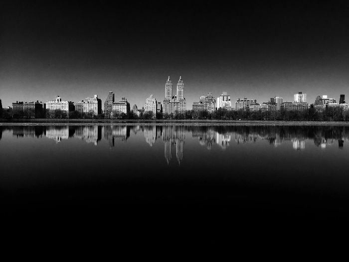 Architecture Built Structure Reflection Water Cityscape Clear Sky Travel Destinations Waterfront Nature Blackandwhite Black And White No People Reflection Central Park Upper West Side Jackie Onasis Reservoir New York City