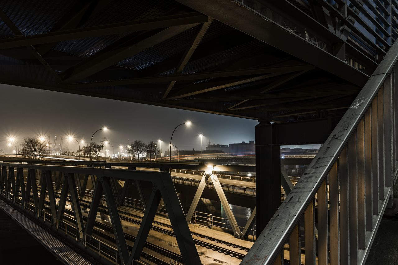 Rails Architecture Bridge Bridge - Man Made Structure Bridges Built Structure City Connection Hamburg Harbour Illuminated Lanterns Lines Night No People Outdoors Rails Sky Tracks Train Tracks Transportation