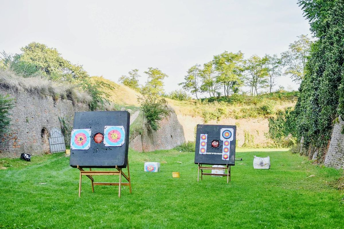 Grass Sky Outdoors Remote Solitude Archery Target Target Shooting Target Practice Targeting Board Archery Range Archery Lesson Sports