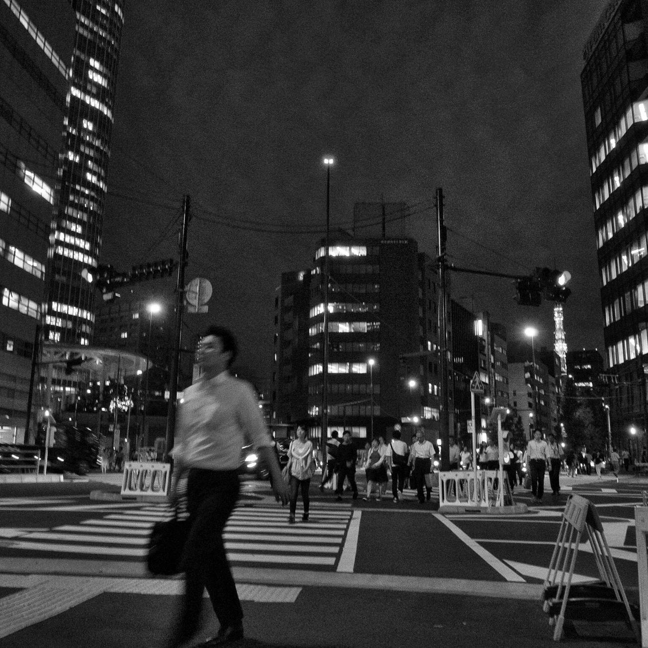 Street City Zebra Crossing Walking City Life Crossing City Street On The Road Nightphotography Night Snapshot Streetphotography_bw B&w Street Photography CityWalk at Toranomon 虎ノ門 , Tokyo Japan