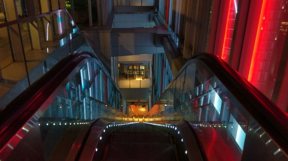 Escalator Steps Night Illuminated Indoors  Orchard Central