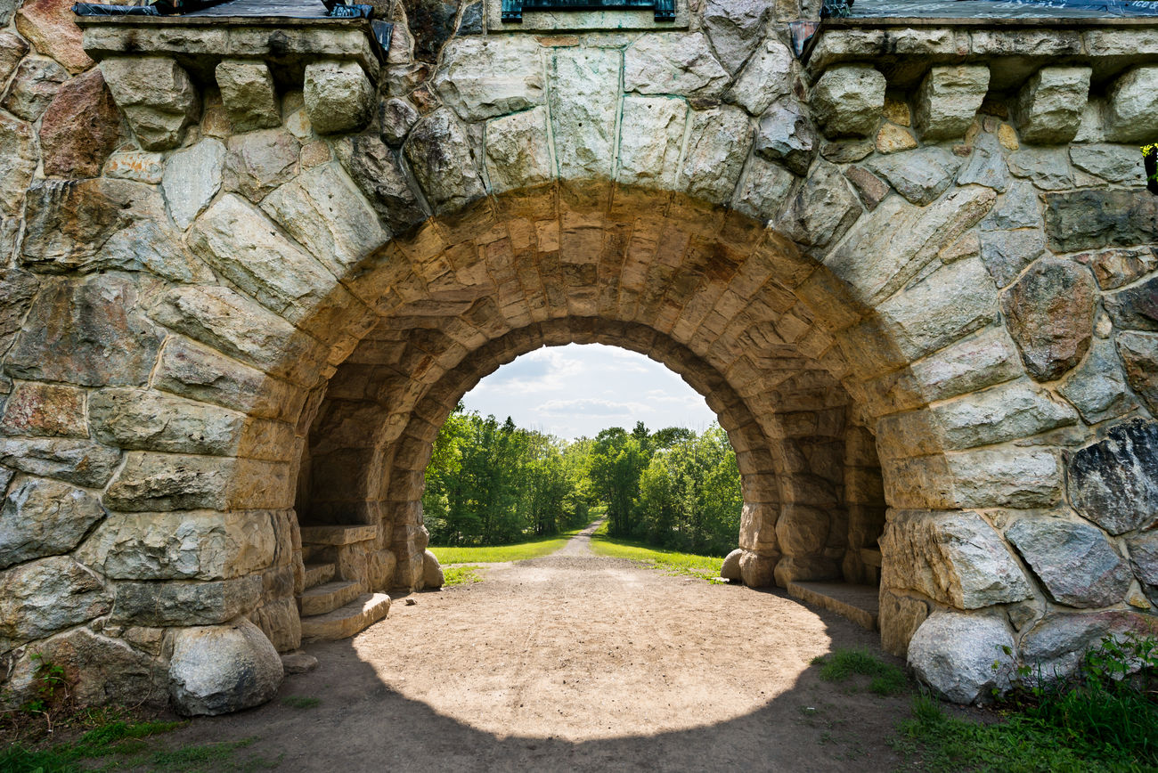 View through Mohonk Gatehouse in New Paltz New York. Gate Gatehouse House Mohonk Mohonk Mountain Mohonk Preserve Nobody Stone Stone Wall Sun Filled Sunlight
