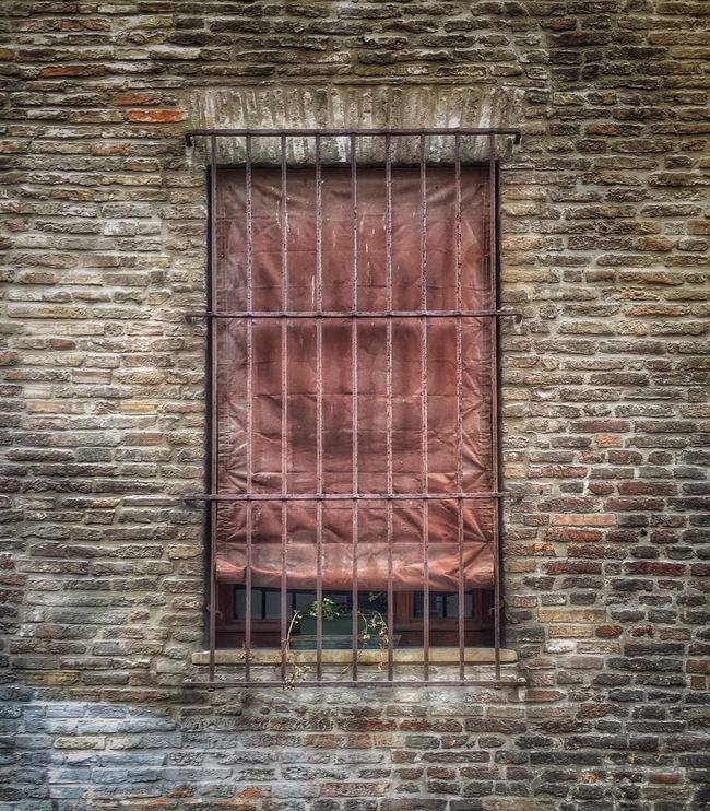 Window Architecture Built Structure Building Exterior Day Outdoors Weathered Animal Head  Window Frame No People Red
