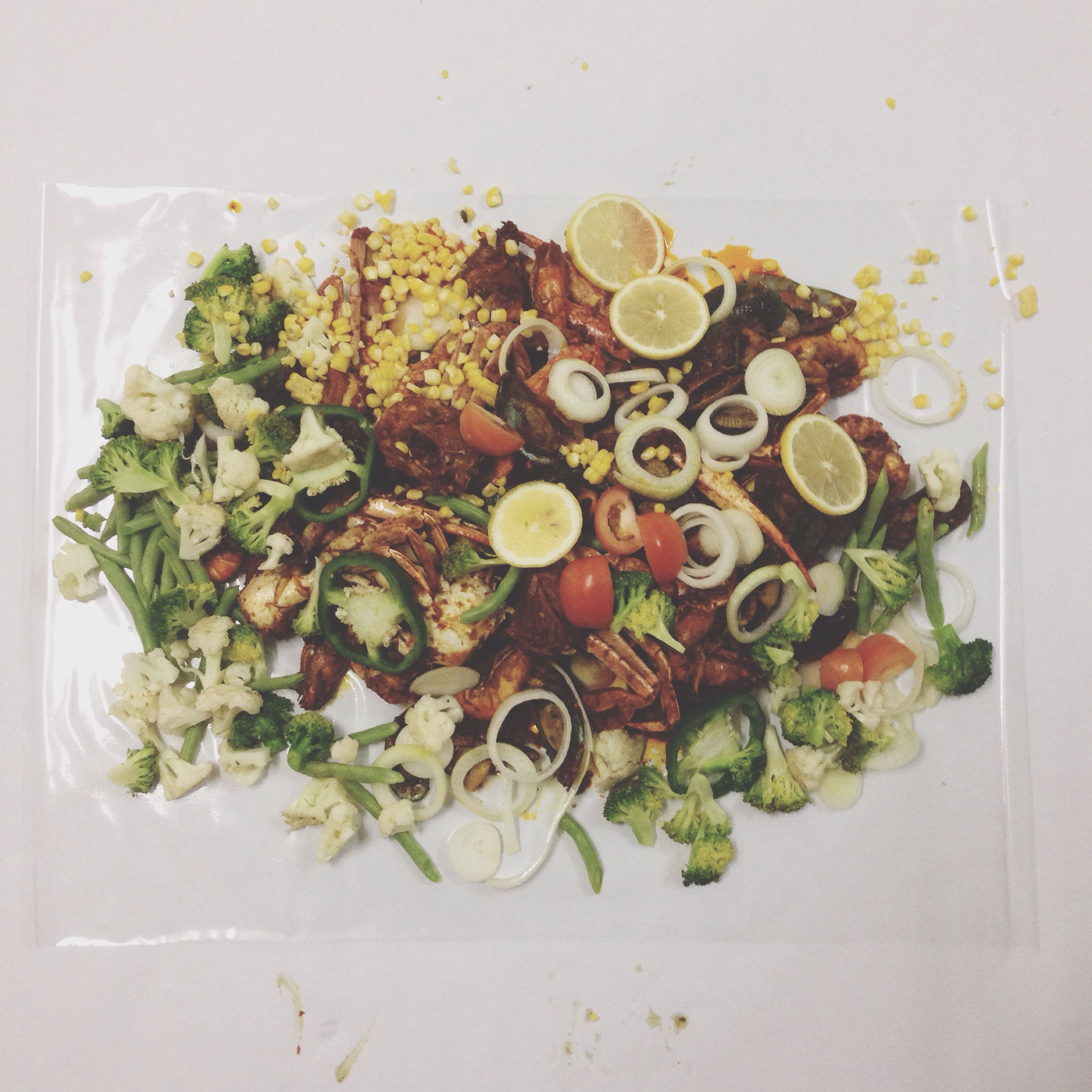food, food and drink, indoors, freshness, still life, healthy eating, plate, ready-to-eat, table, high angle view, vegetable, directly above, indulgence, serving size, close-up, meal, seafood, variation, no people, bowl